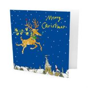 Pack of 10 Quentin Blake Alzheimer's Society Charity Christmas Cards - Reindeer Over Rooftops